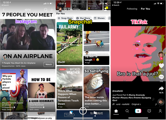 IGTV, Snapchat, TikTok side-by-side