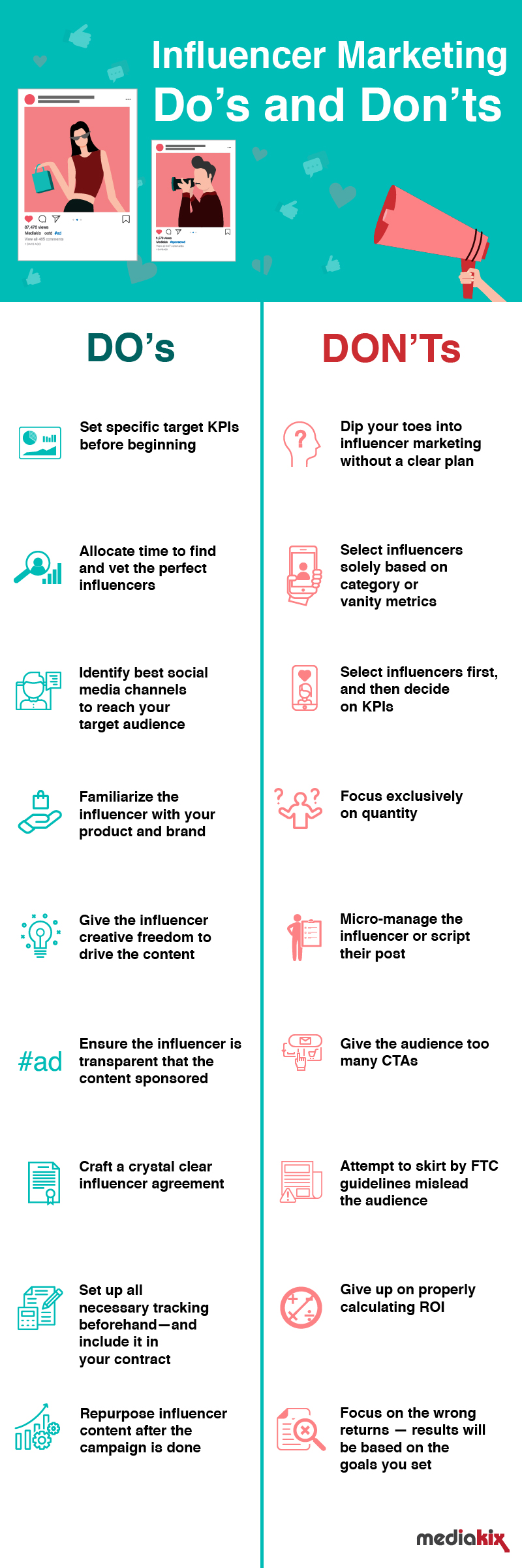 Infographic lists key influencer marketing success tips