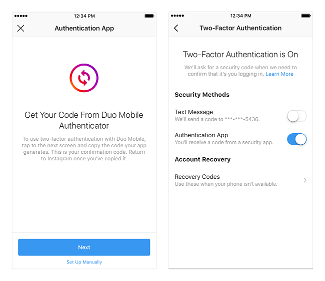 Instagram's third-party authenticator process