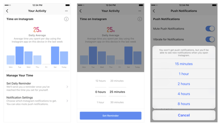 Screenshots of Instagram's activity insights dashboard