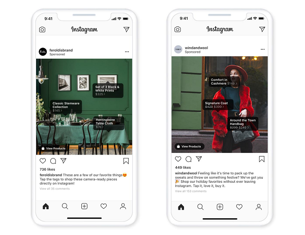 Instagram ads with product tags