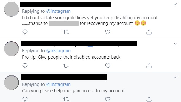 Instagram disabled accounts