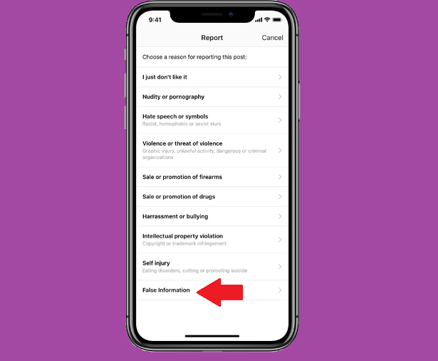 Instagram false information reporting option
