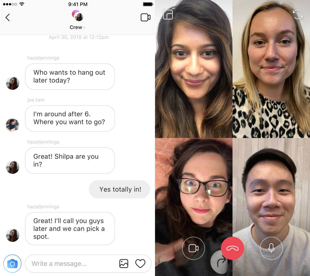 Instagram group video calls screenshots