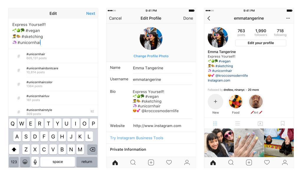 Instagram ahora permitirá enlaces activos a otros perfiles, Hashtags en Bios | Social Media Today