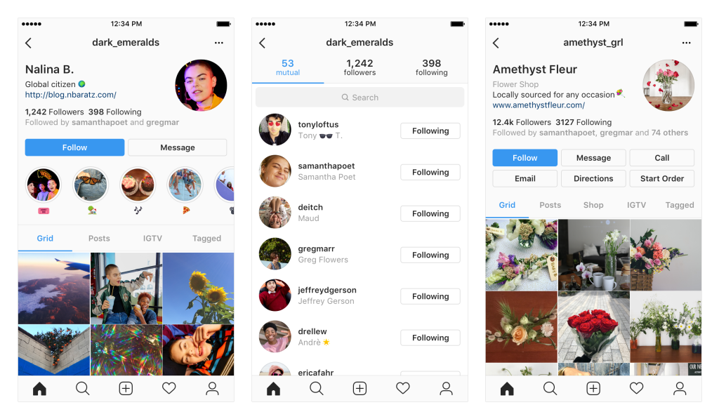 Instagram profile format updates