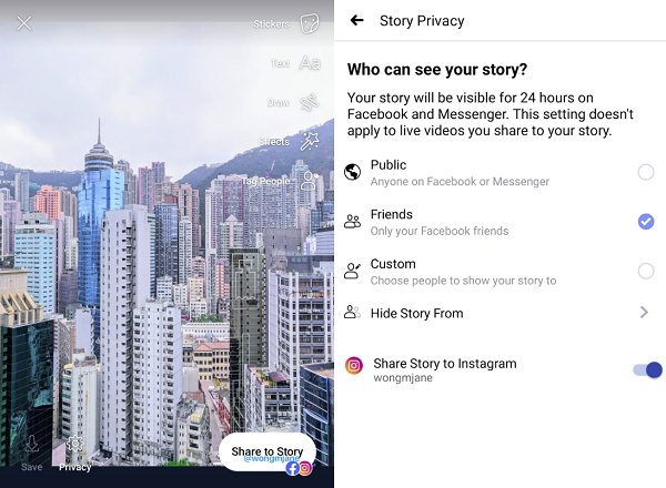 Facebook to Instagram Stories sharing
