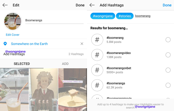 Instagram Stories highlights update