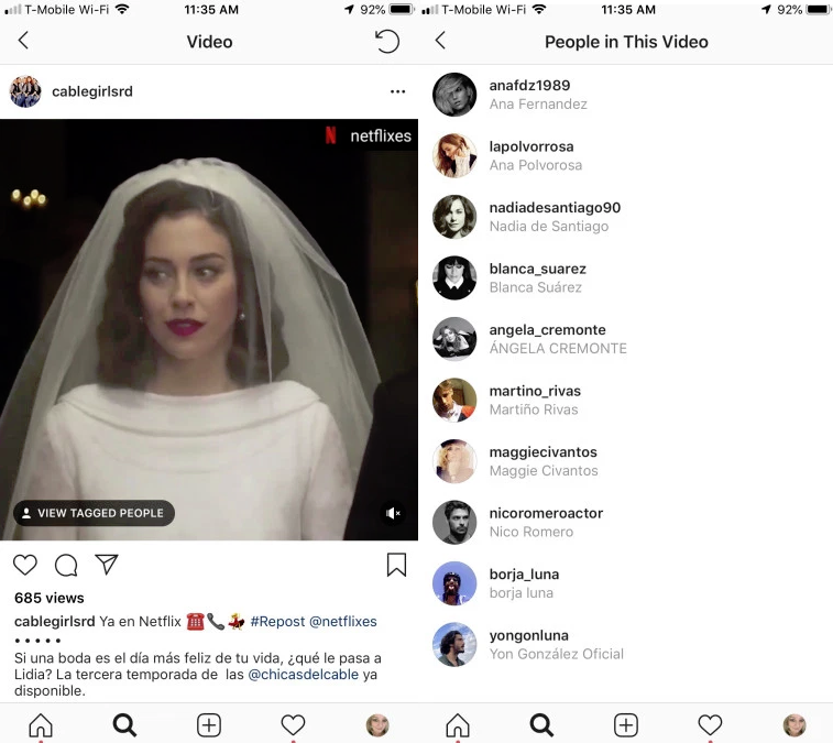 Instagram video tagging (screenshots)