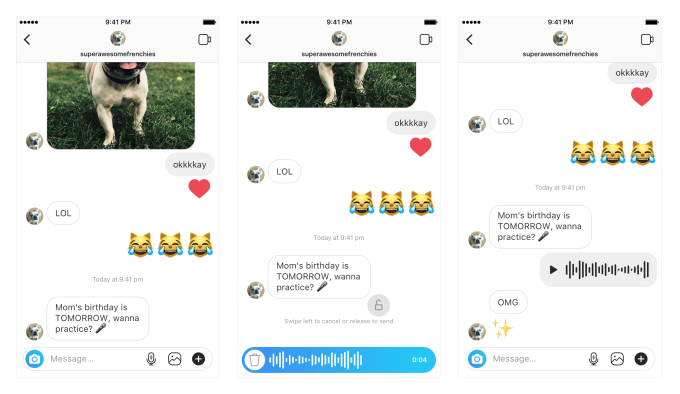 Instagram voice messages
