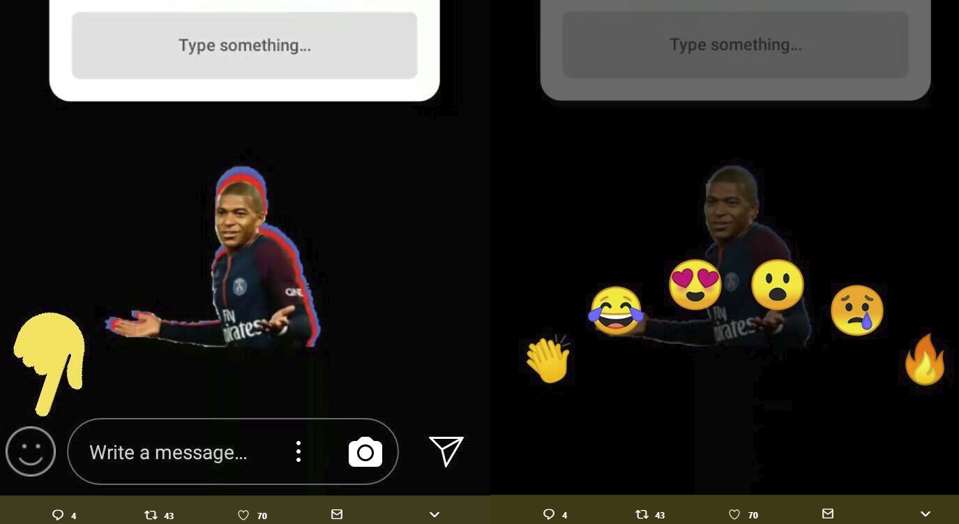 Screenshots of the new Instagram Reactions emoji response tool
