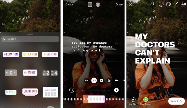 Autocolante de música Instagram com letras no ecrã