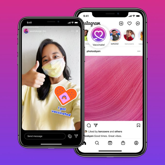 Instagram vaccine stickers