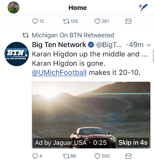 An example of a Twitter in-stream video ad