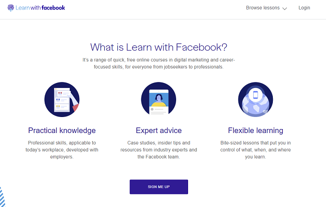 Learn with Facebook homepage