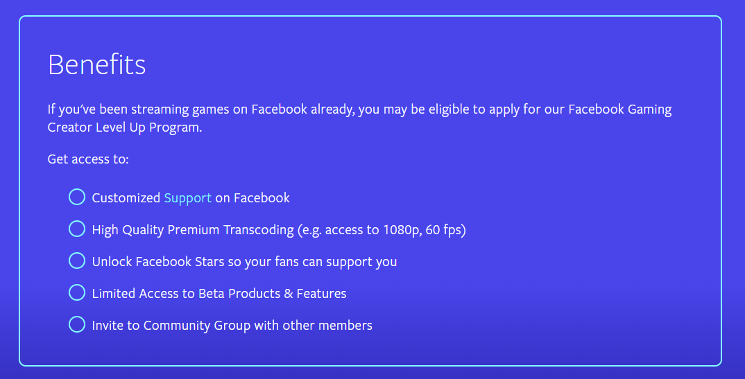 An outline of the benefits of Facebook's 'Level Up' program