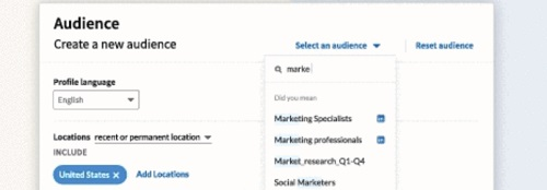LinkedIn's Audience Templates ad targeting option