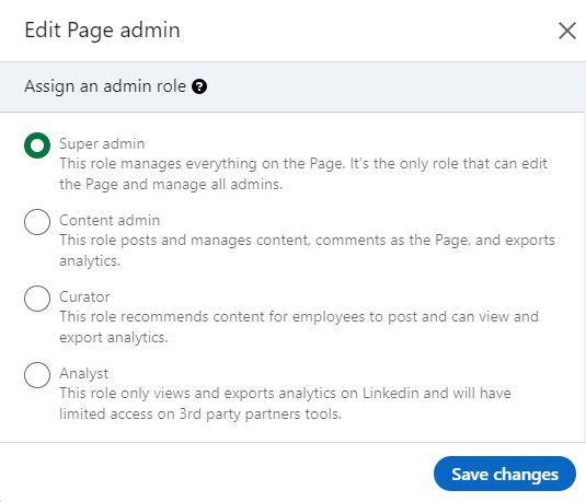 LinkedIn admin roles