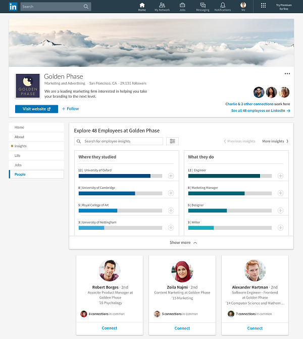LinkedIn company pages update