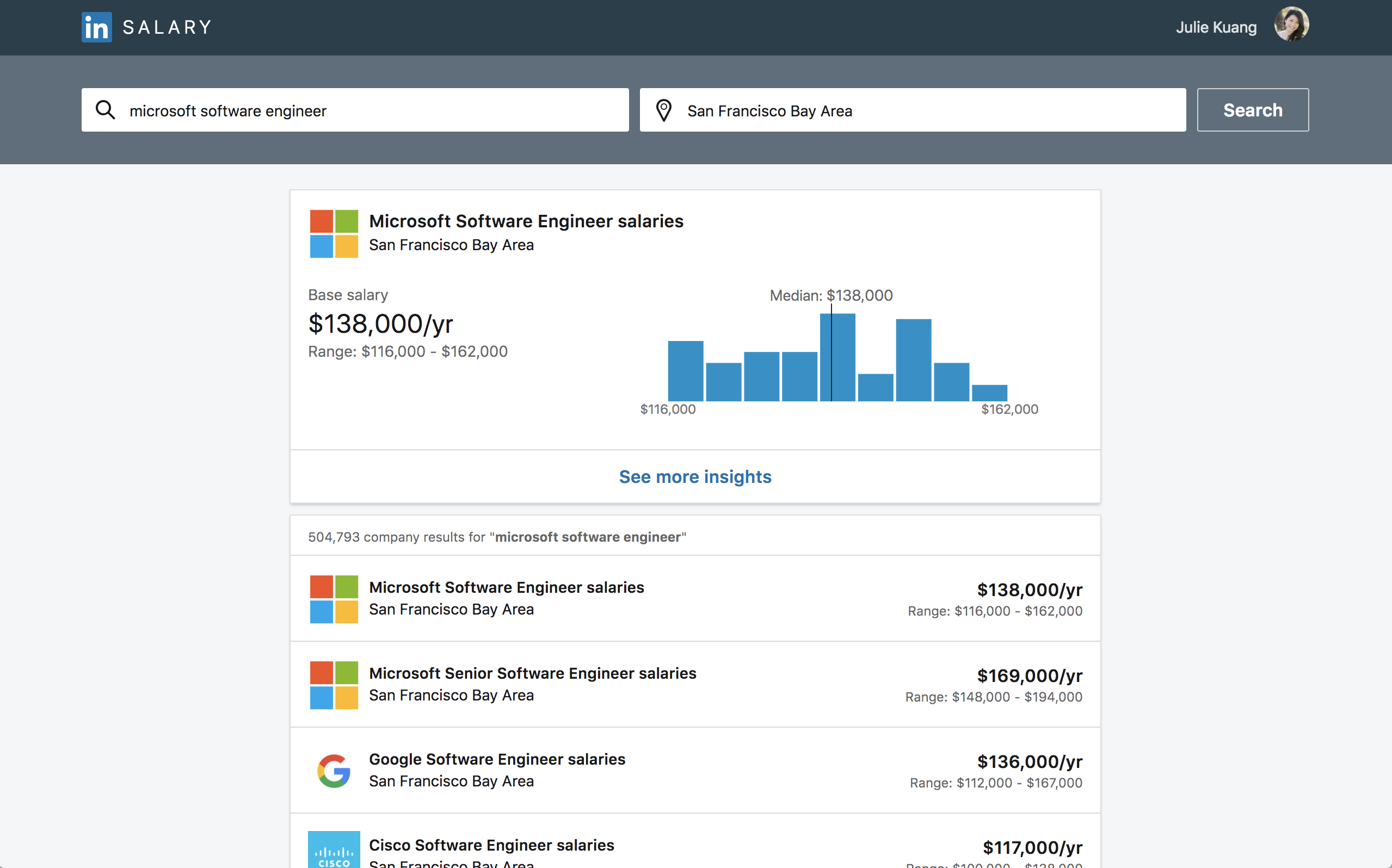 LinkedIn's updates salary insights