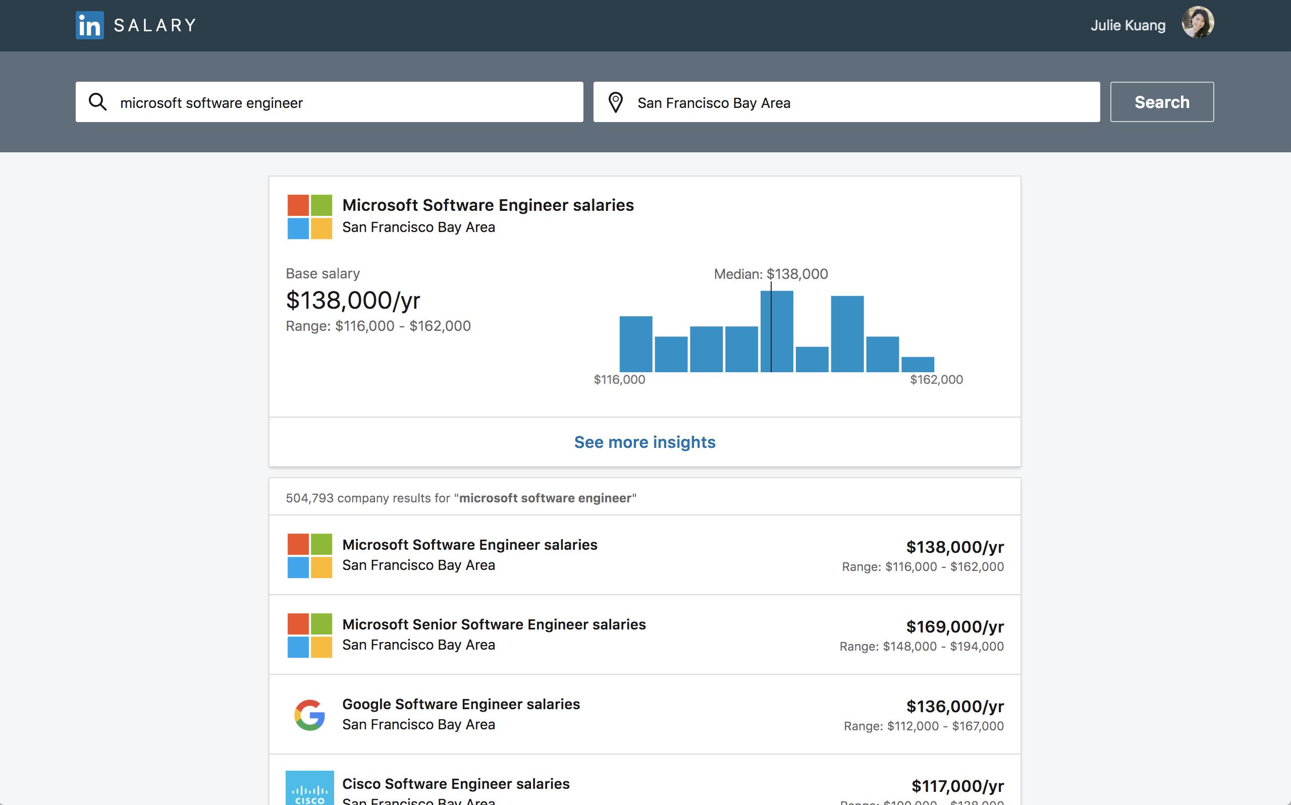 LinkedIn's updates salary insights