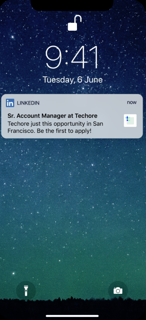 LinkedIn jobs push notifications