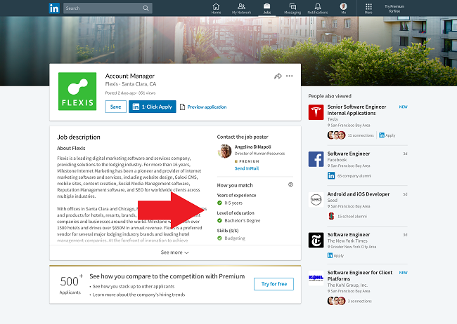 LinkedIn jobs listing with skills match highlighted