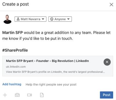 Share a profile on LinkedIn