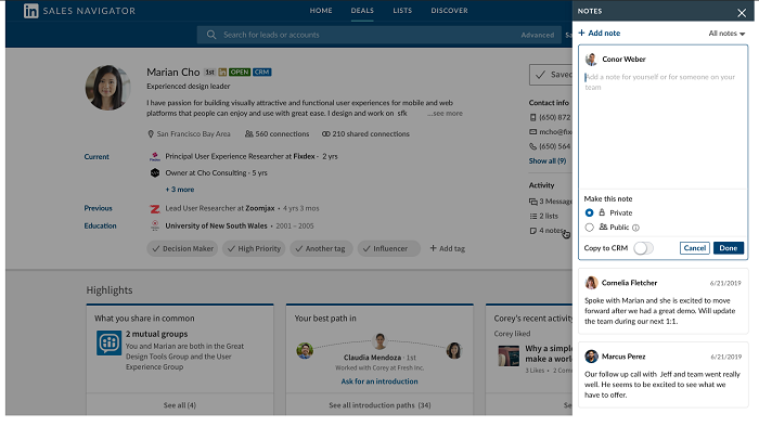 LinkedIn Sales Navigator notes