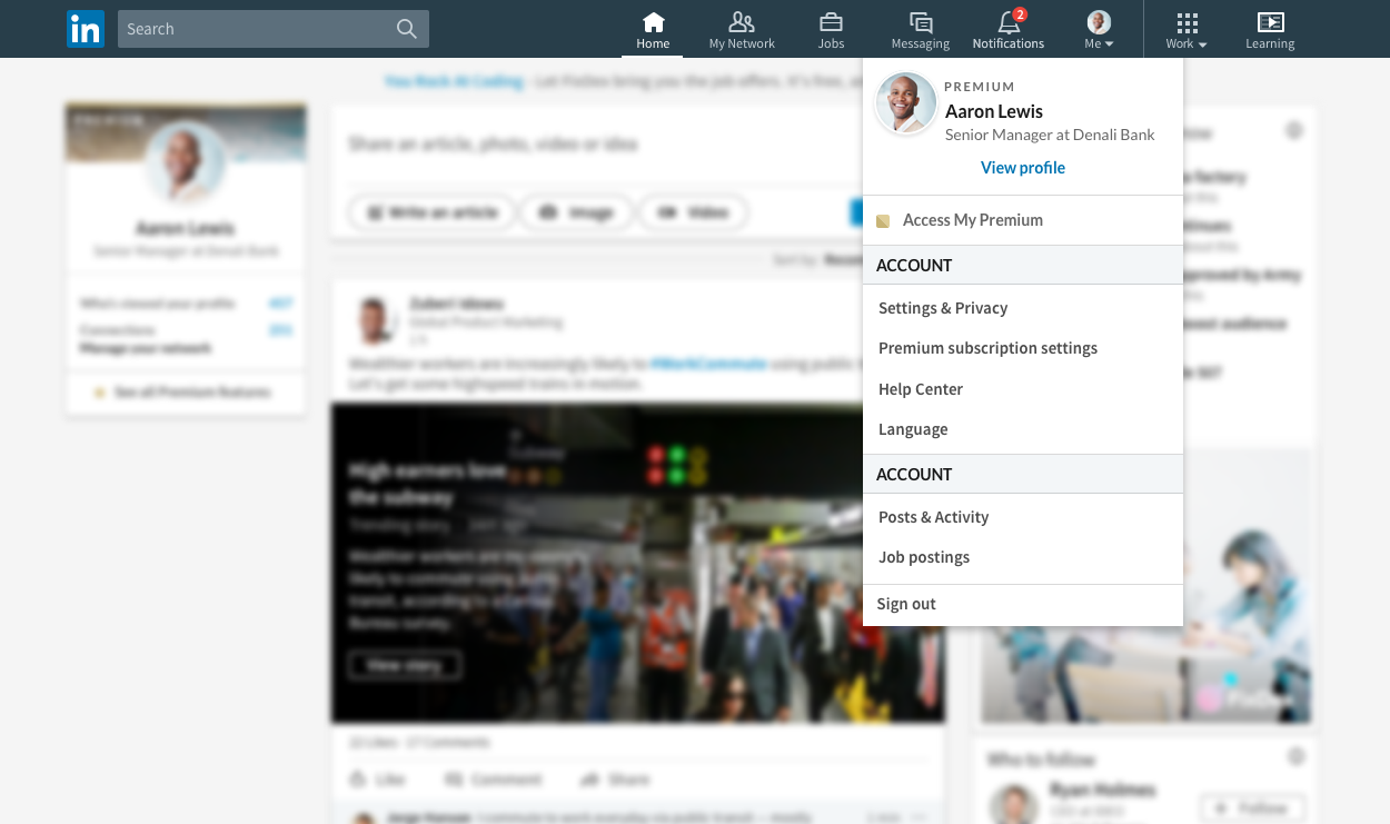 LinkedIn shared menu