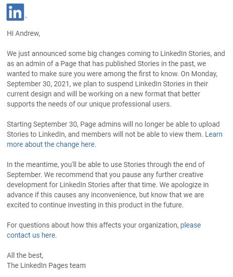 Истории LinkedIn