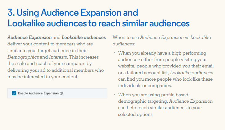 Description of LinkedIn's lookalike audiences option