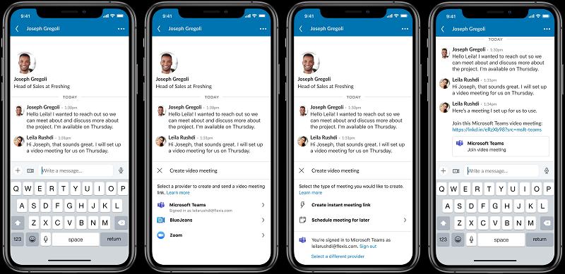LinkedIn video meeting options