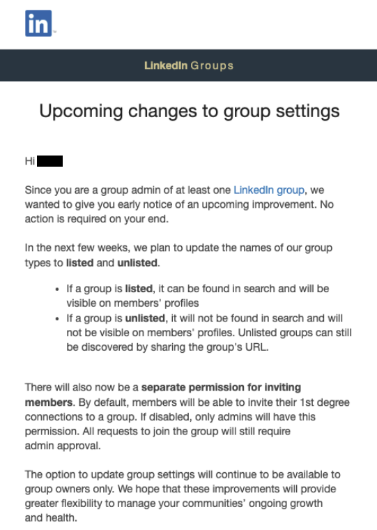 LinkedIn groups update