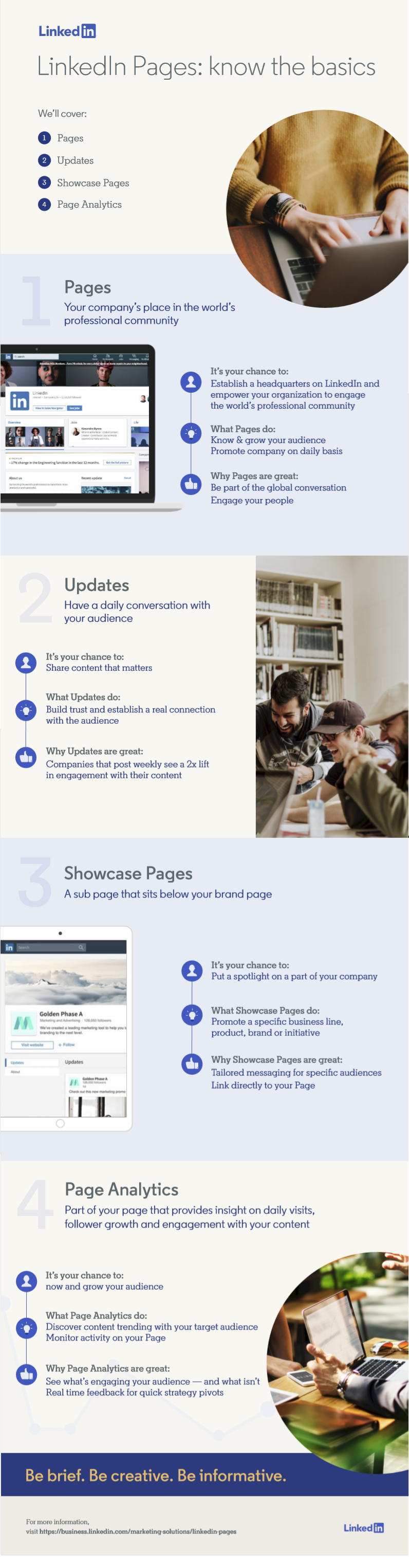 Infographic outlines the key aspects of LinkedIn's business pages