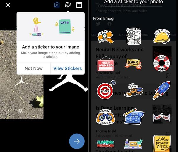 LinkedIn photo stickers