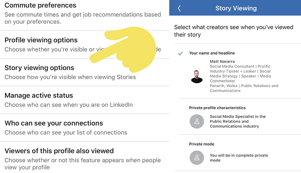 LinkedIn Stories settings