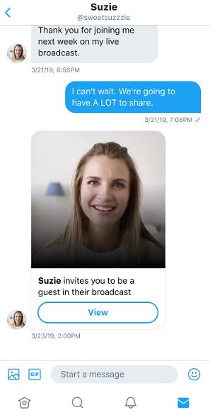 Twitter live stream DM