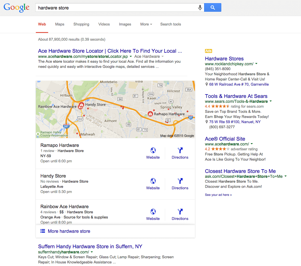 An example of a Google 'local pack' in search results