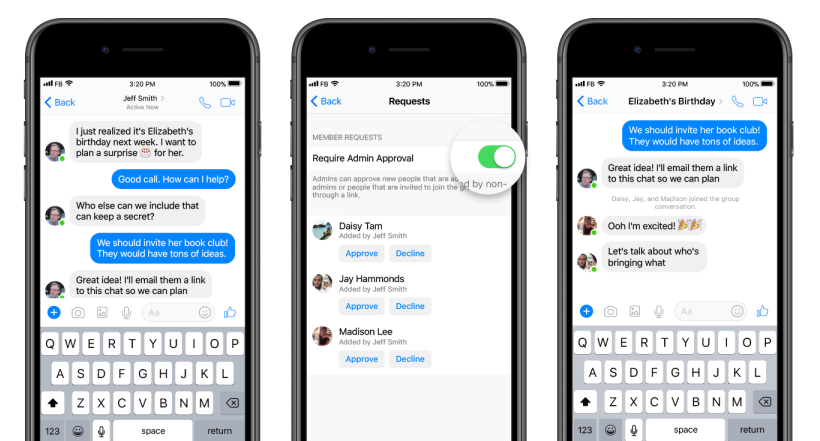 Messenger agrega herramientas de administración de grupo, enlaces de chat grupal | Social Media Today