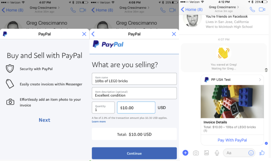 Facebook Adds New PayPal Invoicing and Payment Options to Messenger | Social Media Today