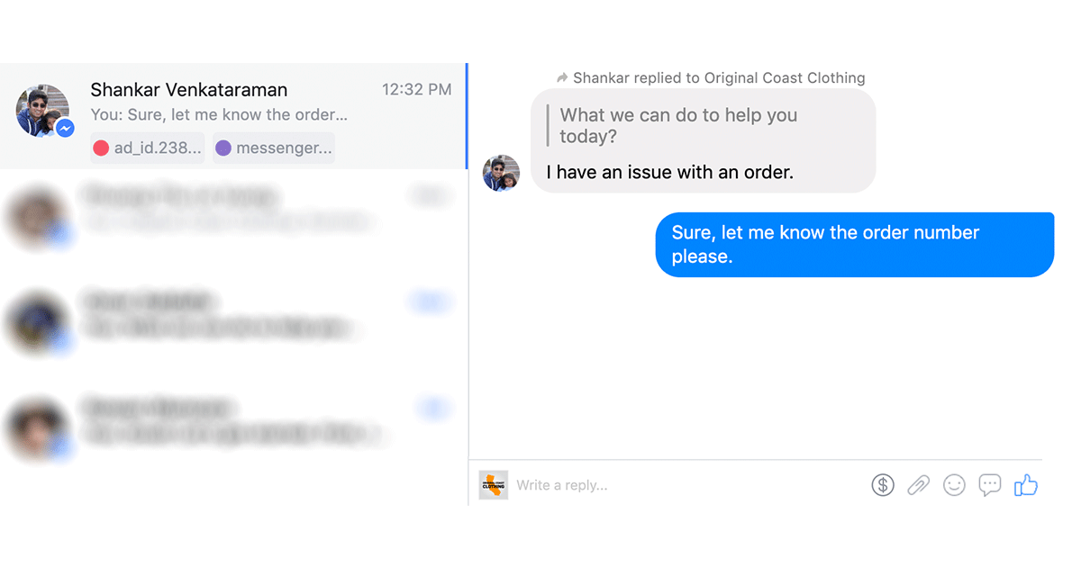 Facebook Messenger context
