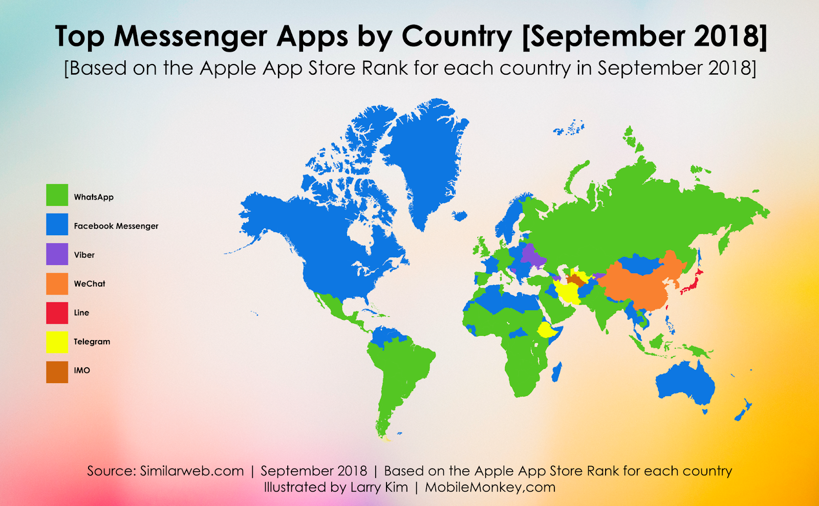 Messaging app popularity by region