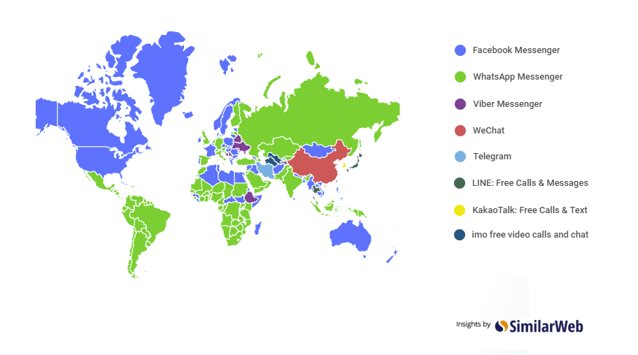 Map of the most used messaging apps across the world