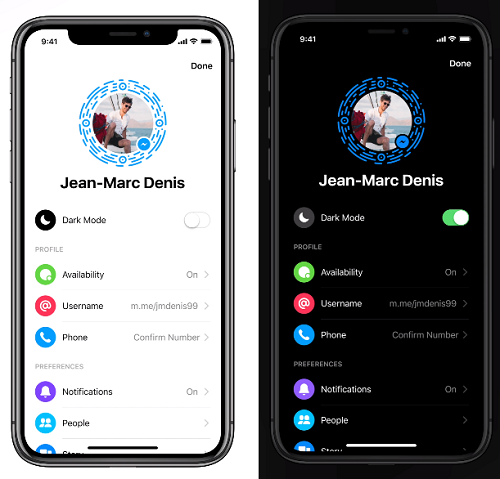 Facebook Messenger Dark Mode activation