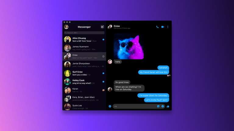 Messenger desktop Dark Mode