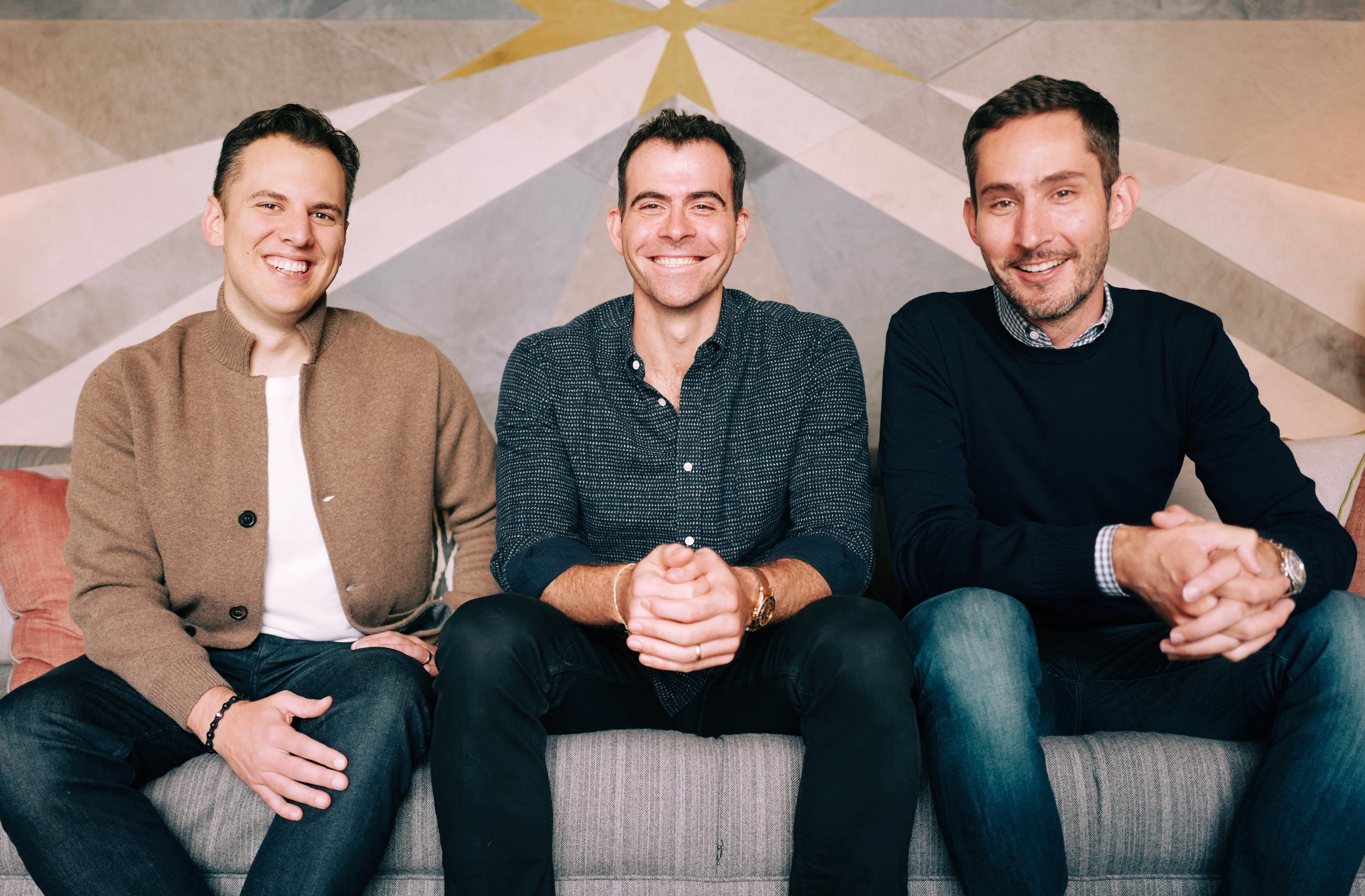 Adam Mosseri sitting with Mike Krieger and Kevin Systrom