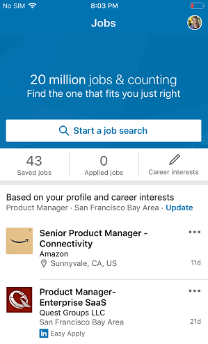 New LinkedIn Jobs screen