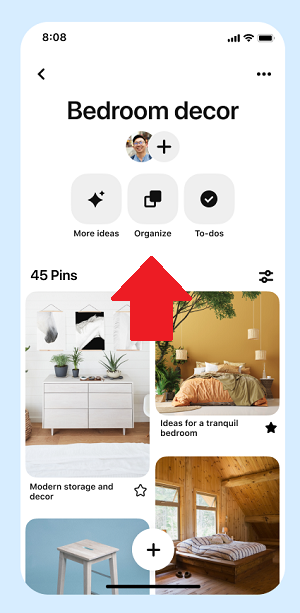 Pinterest board toolbar
