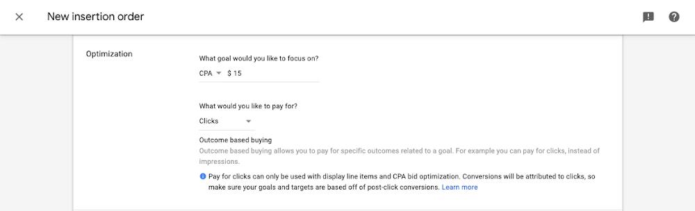 Google outcome bidding